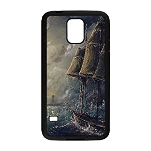 Samsung Galaxy S5 Cell Phone Case Black Painting Sea Wave Boat Illust Art FXS_706538