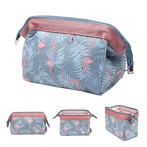 (Travel Cosmetic Bags Small Makeup Clutch Pouch Toiletry Bag Makeup Organizer for Women (Blue Flamingo))