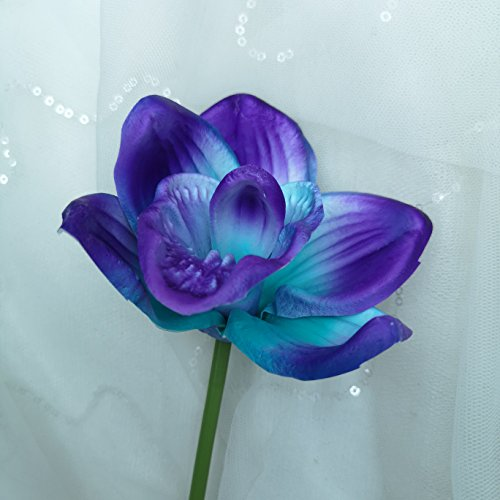 (Lily Garden Artificial Flowers Real Touch Orchid Set of 10 (Purple))