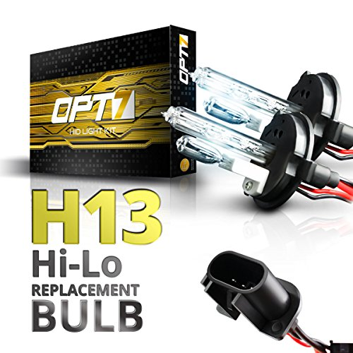 OPT7 2pc Bolt AC H13 Hi-Lo Replacement HID Bulbs [6000K Lightning Blue] Xenon Light