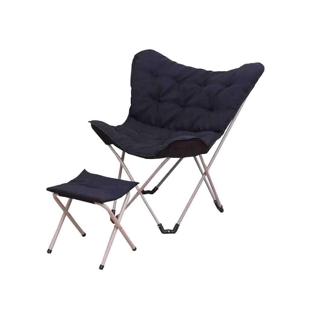QZ HOME Stühle, Klappstuhl Sonnenliege Computer Stuhl Schmetterling Stuhl Sessel Einfach Im Freien Haushalt Mit Füßen (Farbe : SCHWARZ)