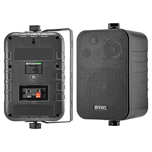 Pair Of Enrock Audio Systems 4-Inch 200 Watts 3-Way Indoor / Outdoor Enclosed Box Speaker System - Marine Grade - Black Color - EKMR408B