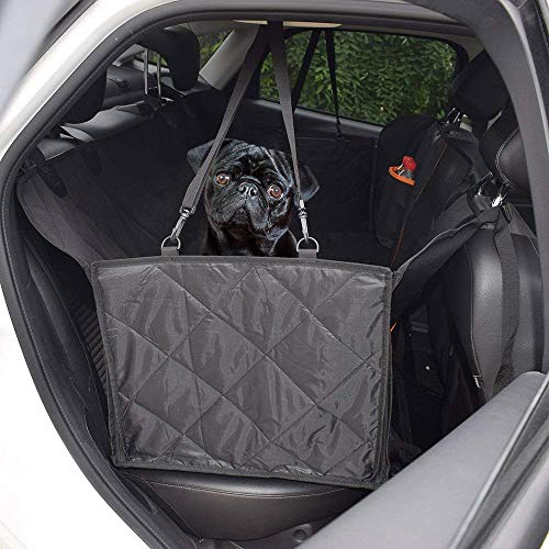 Pet/Dogs Car Seat Covers for Back Seat-100% Waterproof Anti-Scratch Nonslip Car Seat Cover for Dog Pet Hammock Backseat Cover with Mesh Viewing Window Dog Protector with Side Flaps for Car Truck-black For Sale
