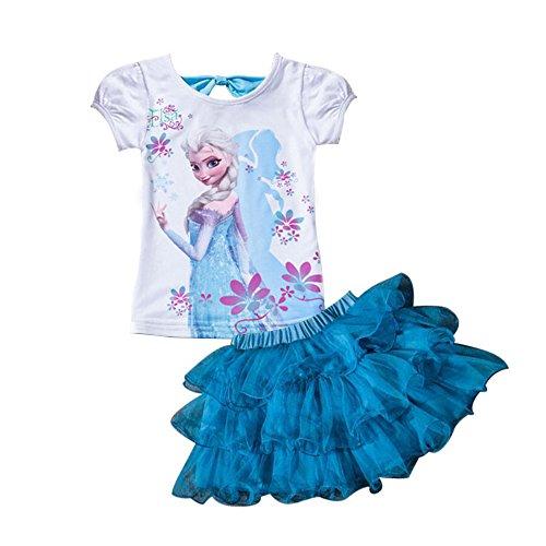 Moebao Frozen Little Girls' 2Pcs Suit Cartoon Shirt and Skirt Set,100,Blue