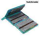 BTSKY® Portable Canvas Zippered Colour Pencil Case-Super Large Capacity 72 Slot Pencil Bag Pouch for Watercolor Pencils (Blue)