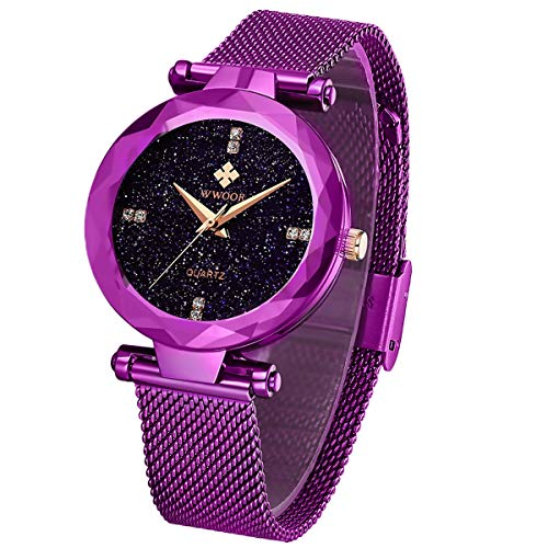 (WWOOR Women's Watch Fashion Star Watch Analog Quartz Watches with Stainless Steel Mesh Band Waterproof Wristwatch Gift Casual Watch Ladies (Purple))