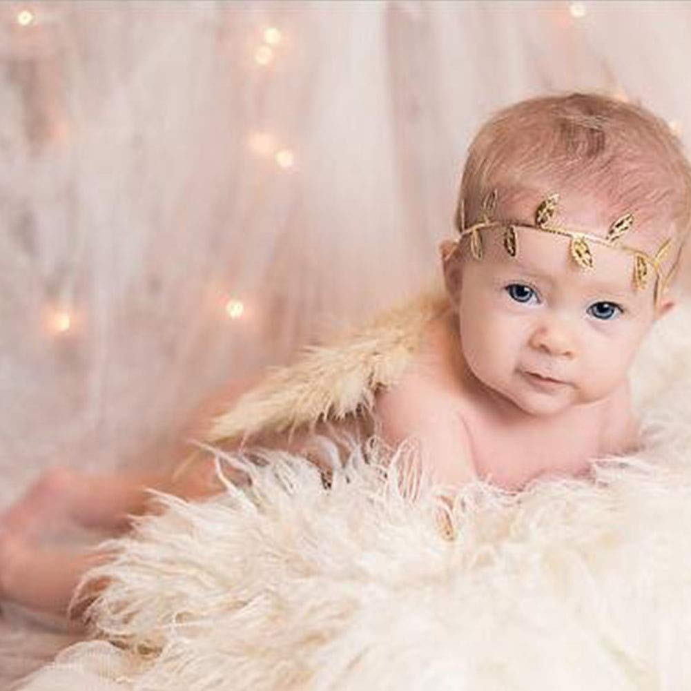 Amor Present Baby Angel Wings, Newborn Baby Gold Feather Angel Wings with Headband Infant Costume Photo Prop Outfit Easter April Fools Day Gift