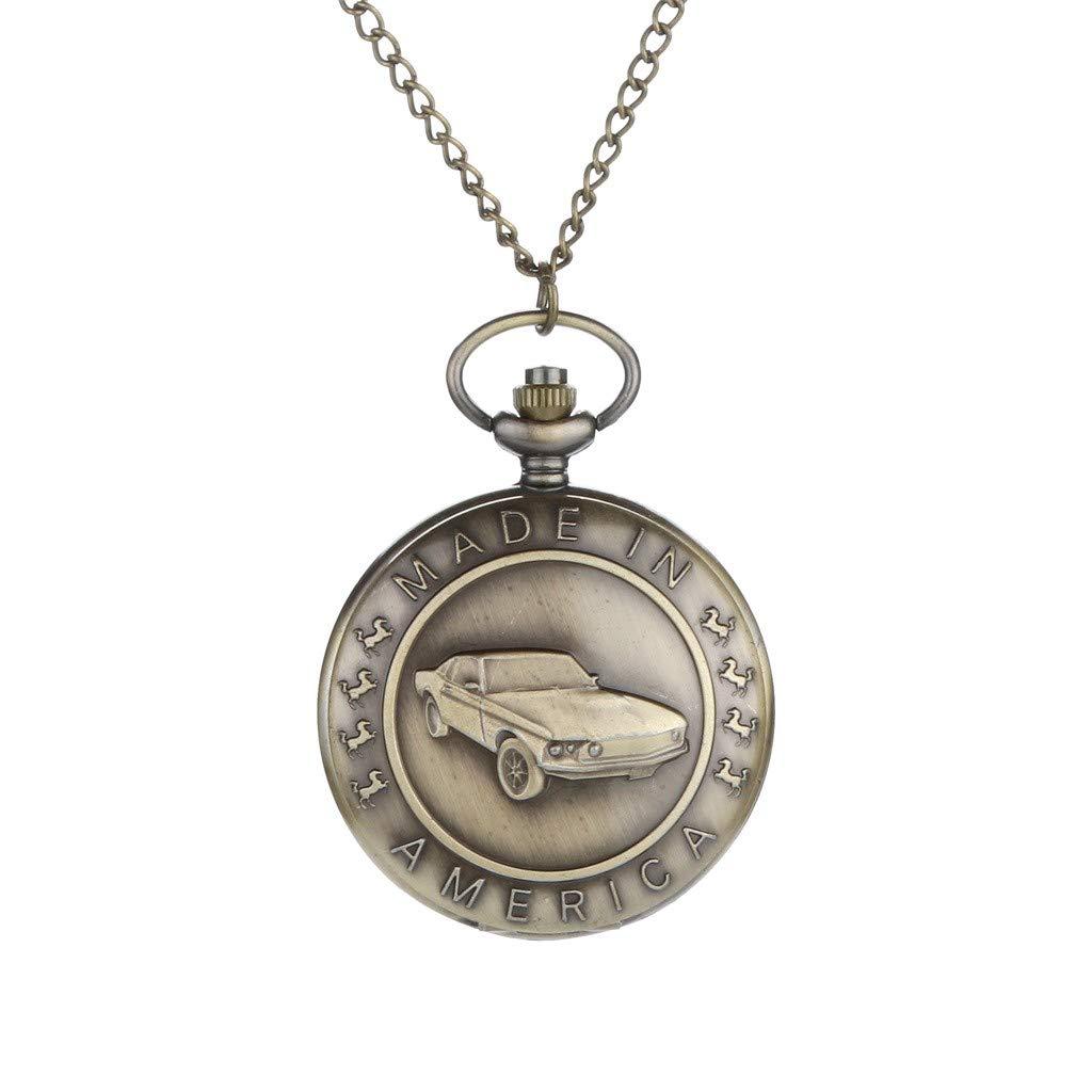 Zainafacai Pocket Watch,Steampunk Vintage Quartz Roman Numerals Pocket Watch Necklace for Men