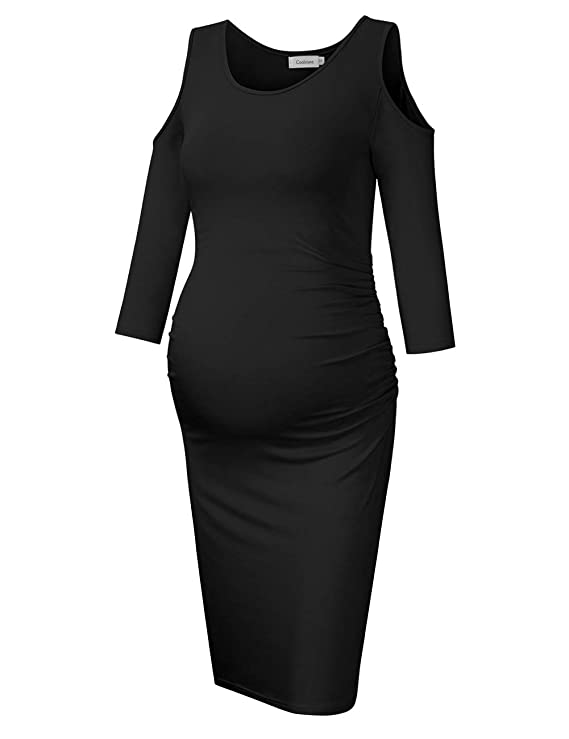 Coolmee Womens Cold Shoulder Maternity Dress 3/4 Sleeves Ruched Sides Bodycon Dresses Black XL at Amazon Womens Clothing store: