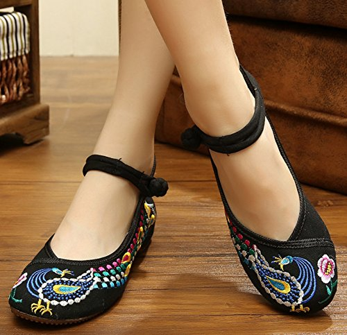 Icegrey Mujer Del Pavo Real Bordado étnico Mary Jane Resbalón En Los Zapatos Negro