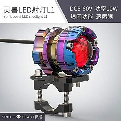 DishKooker Led Spotlight Motorcycle Decorative Lighting Headlight 48V Headlamps Fog Bright Light ( blue;emitting Devil eye blue light )