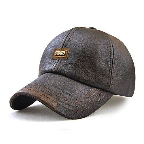 Golf Leather Visor - King Star Men Winter Warm Faux Leather Adjustable Baseball Cap Coffee