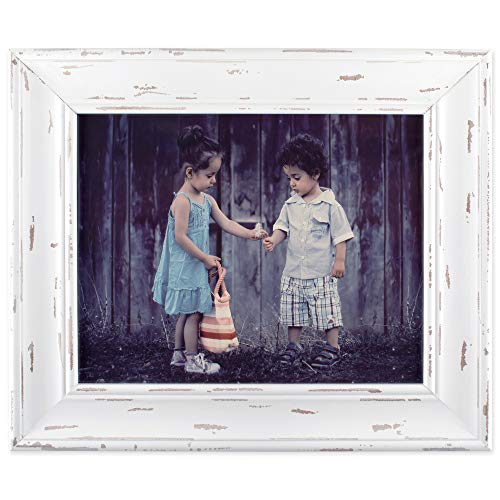 DII, Rustic Farmhouse, Distressed Wooden Picture Frame, 8x10, - Distressed White Picture Frame