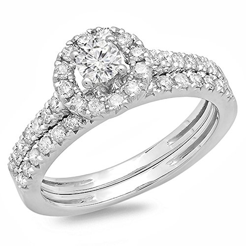 Dazzlingrock Collection 0.85 Carat (ctw) 14K Round Cut Diamond Bridal Halo Style Engagement Ring Set, White Gold, Size 7
