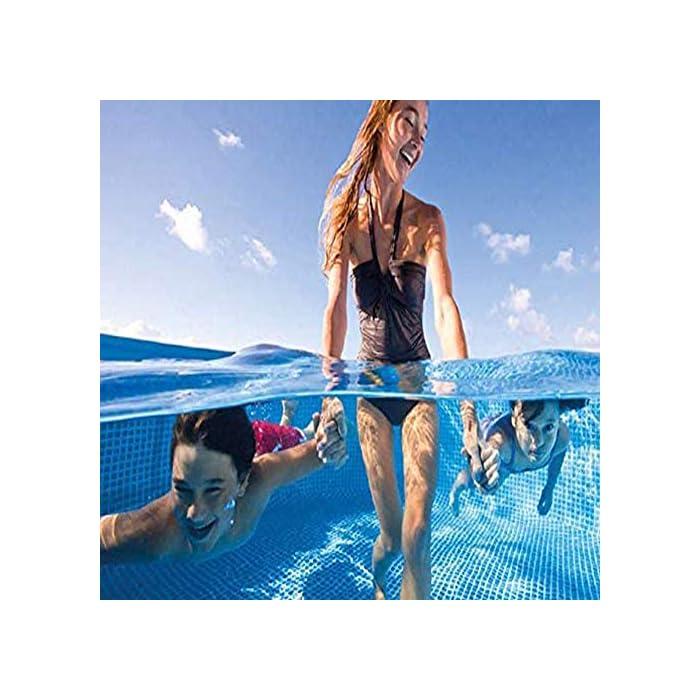 514f%2BasunfL SIN FIN DE VERANO FUN: niños y adultos de todas las edades pueden disfrutar de la natación y salpicaduras Piscina sobra la tierra. Es la alternativa económica a una piscina de paredes de acero más complicado, sin embargo, proporciona una durabilidad y estabilidad mayor de opciones de la piscina inflable .. Construcción duradera: El marco robusto de metal es para resistencia a la oxidación con recubrimiento de polvo y tiene paredes laterales laminadas super-resistentes que están reforzados con una banda de alrededor de mantener patas de estructura firmemente en su lugar. CARACTERÍSTICAS: Las piscinas tapón de vaciado acepta una manguera de jardín para el agua de drenaje lejos de la zona ool como se desea y es la manera perfecta para combatir el calor del verano para la diversión del patio trasero.