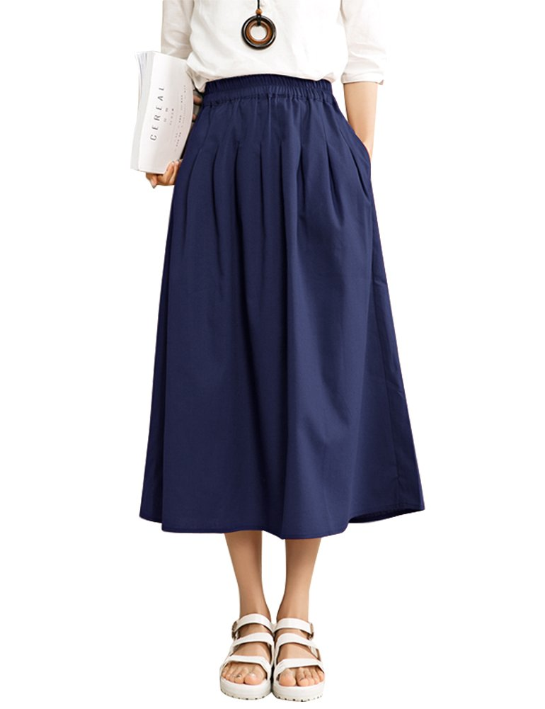IDEALSANXUN Women's Elastic High Waist A-line Linen Midi Pleated Skirt with Pocket (Navy Blue, Medium)