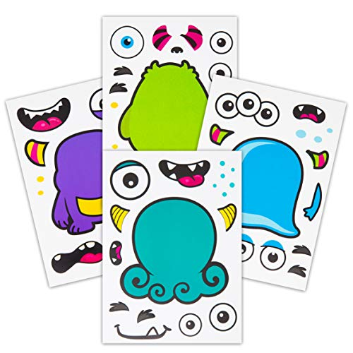 24 Make A Monster Stickers For Kids - Monster Themed Birthday Party Favors & Supplies - Fun Craft Project For Children 3+ - Let Your Kids Get Creative & Design -