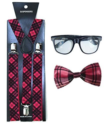 Adults Nerd Glasses Pink Tartan Braces Bow Tie Set Naughty School Girl Boy Dress Costume One Size Fits Most]()
