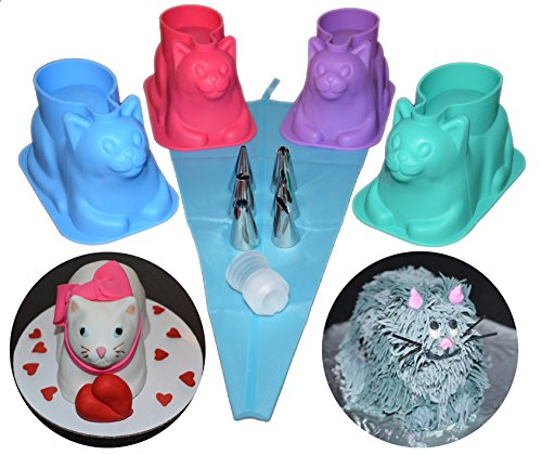 4 pack 3D Cat Silicone Cupcake Mold with Decorating Kit - For Chocolate, Jello, Ice, Soap. Unique Gift for Cat Lovers and Bakers (Silicone Mold Kitty)