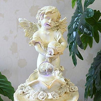 Rhegene Indoor Fountain Water Fountain Cupid Angel Boy with LED Light Humidifying