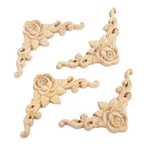 TOOGOO 10PCS Floral Wood Carved Decal Corner Applique Decorate Frame Wooden Figurines Cabinet Decorative (Floral Corner Cabinet)