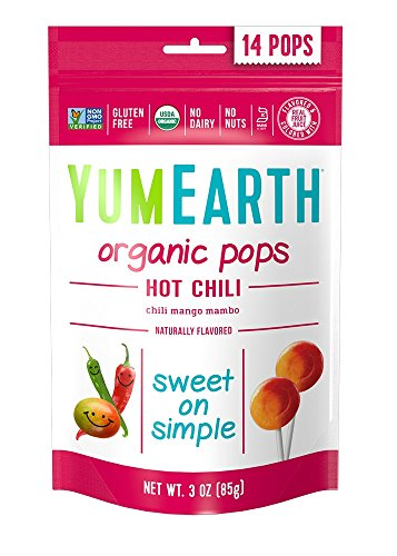 Dulce Sock - YumEarth Organic Hot Chili Lollipops, 14 Lollipops (Pack of 6)