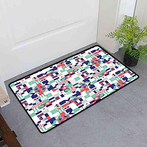 Rugs Mid Century,Rich Contemporary Mosaic of Funky and Pastel Shapes,Mint Green Dark Purple Dark Coral Rugs for Dogs 32