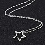 GemsChest Sterling Silver Moon Necklace Cubic