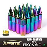 Xprite Neon Chrome Aluminum Mounted 90mm Spike Extended Nut Refit Wheel Lug Nuts / Tire Screw M12x1.5