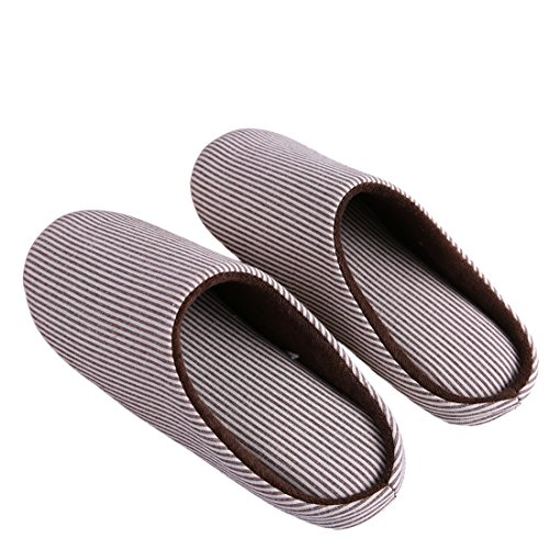 KRIMUS Indoor Slippers |Striped Slippers| Slippers for Women|Slippers for Men|Couple Slippers(Brown-XL) by KRIMUS