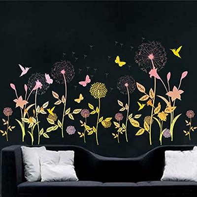 Jardín flor mariposa diente de león etiqueta de la pared paisaje ...