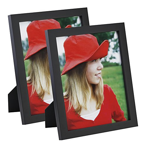 8x10 inch Picture Frame (2pk) Made of Solid Wood High Definition Glass for Table Top Display and Wall mounting photo frame Black