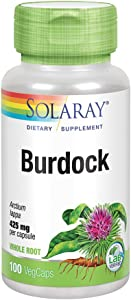 Solaray Burdock Root 425 mg | Healthy Liver, Kidney, Digestion, Circulation, Joint & Skin Support | Antioxidant Activity | Non-GMO | 100 VegCaps