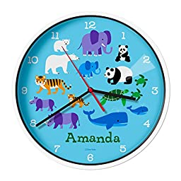 Olive Kids Personalized Endangered Animals Clock with White Case