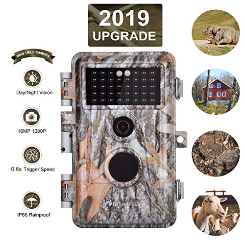 [Upgraded]Game Hunting Trail Camera 16MP 1080P No Glow with Night Vision Motion Activated IP66 Waterproof Outdoor Tracking & Stand By Time Up to 6 Months, Time Stamp & Time Lapse, Photo & Video Model ()