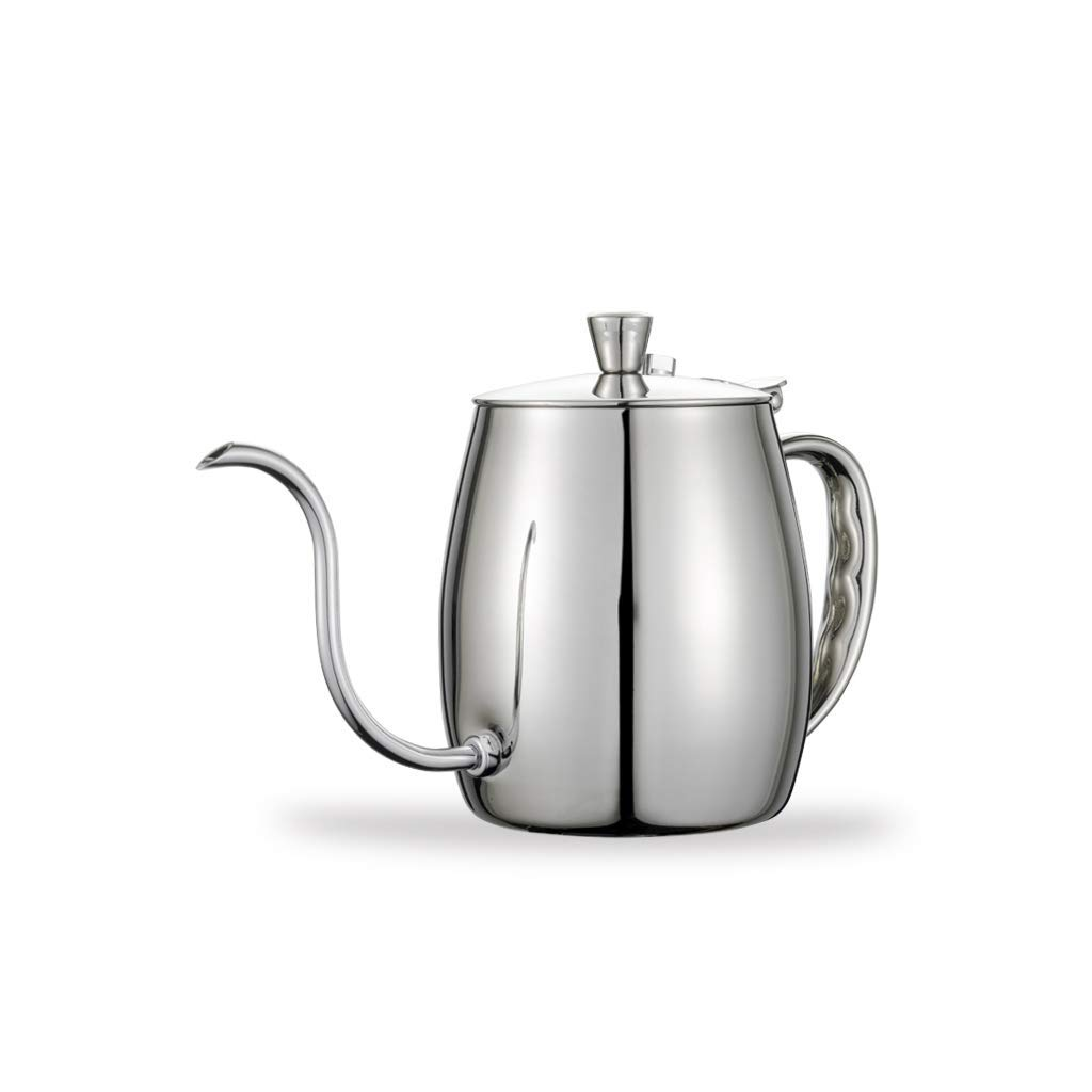 OYY Manufacture Coffee Pot, Hanging Ear Coffee Hand Punching fine Pot Stainless Steel drip Pot Hanging Ear Filter Bag Long Mouth Pot(700ml) (Capacity : 700ml, Color : Silver Moonlight)