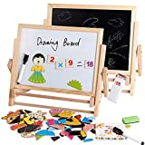 Wooden Drawing Board Bracket Magnetic painting Double-sided Art Easel Chalks & Bottom with Accessories Learning Play for Toddlers!