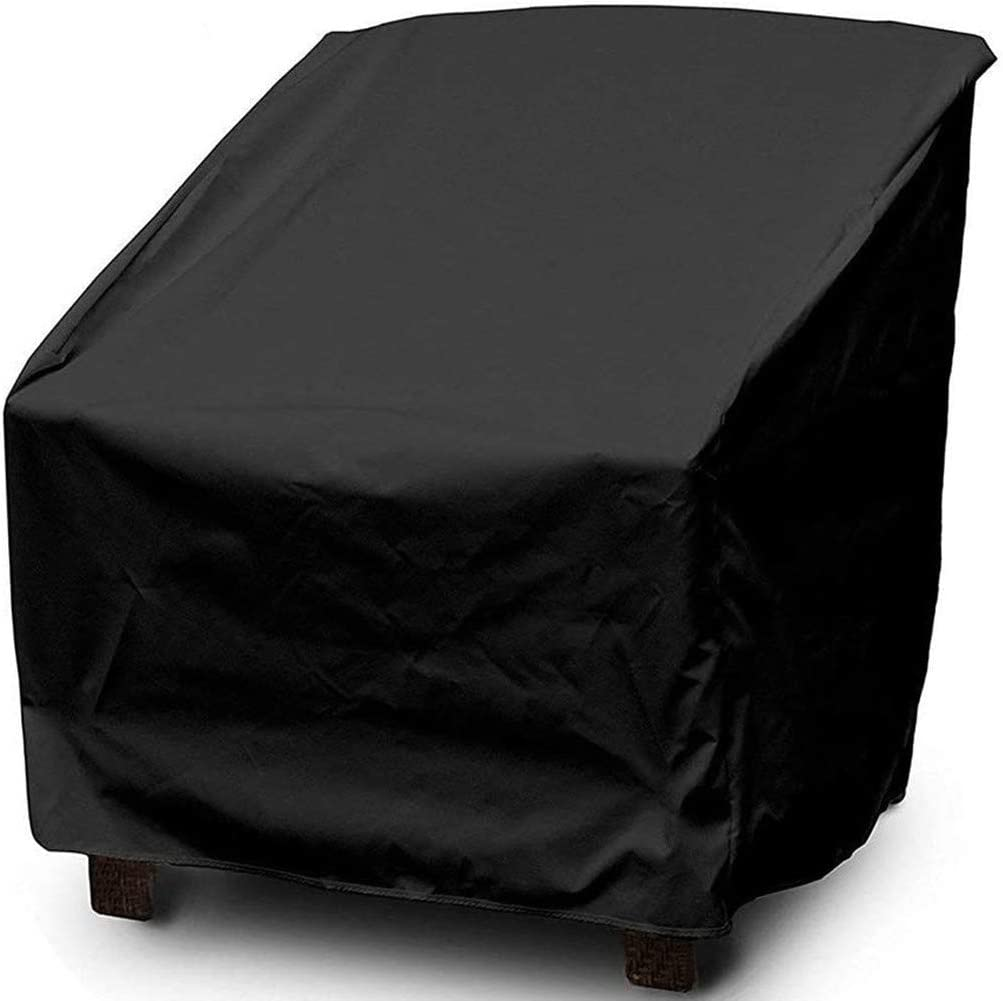 wide smile Garden Chair Cover Patio Stacking Chair Cover Waterproof 420D Oxford Fabric Outdoor Protective Cover for Stackable Chairs Anti-UV 70x79x101//70cm Black