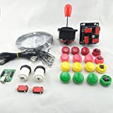 BLEE DIY Arcade Parts Bundles Kit With 30mm Arcade Cassette Button Joystick 2Player USB To Jamma Arcade Control Board for Video Games Machine