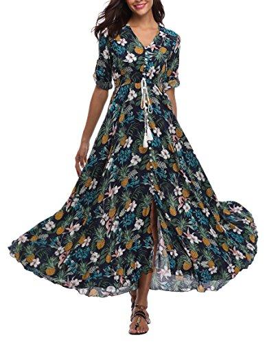 VintageClothing Women's Half Sleeve Floral Print Maxi Dresses Boho Button up Split Beach Party Dress, Color: (One Button Print Skirt)