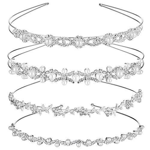 TecUnite 4 Pieces Wedding Party Crystal Flower and Leaves Crown Headband and Women's Faux Pearl Rhinestones Headdress for Bride Bridesmaids (Style Set 2) ()