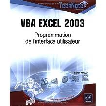 VBA Excel 2003: Programmation de l'interface utilisateur