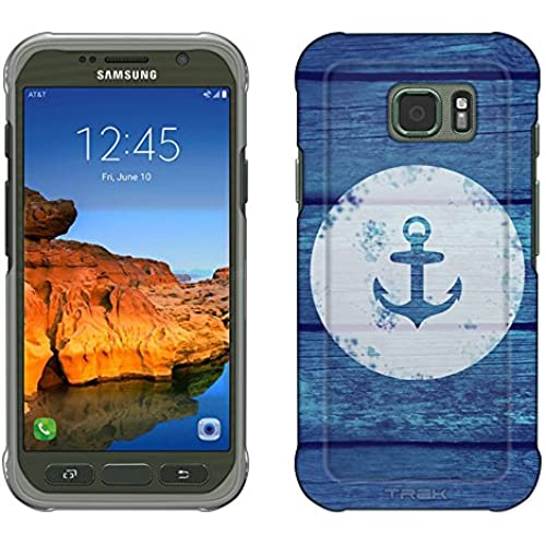 Samsung Galaxy S7 Active Case, Snap On Cover by Trek Anchor on Blue Wood Slim Case Sales