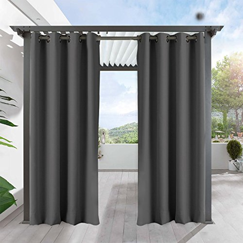 Outdoor Decor Antique Bronze Grommet Curtains/Drapes Panels For Patio,Front Porch ,Gazebo With Rope Tieback , 84
