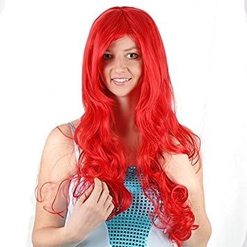 La Sirenita Wiged Princesa Jilly Desplazamiento Rojo Peluca Peluca Cosplay Festival De Animación,Rojo Stealth