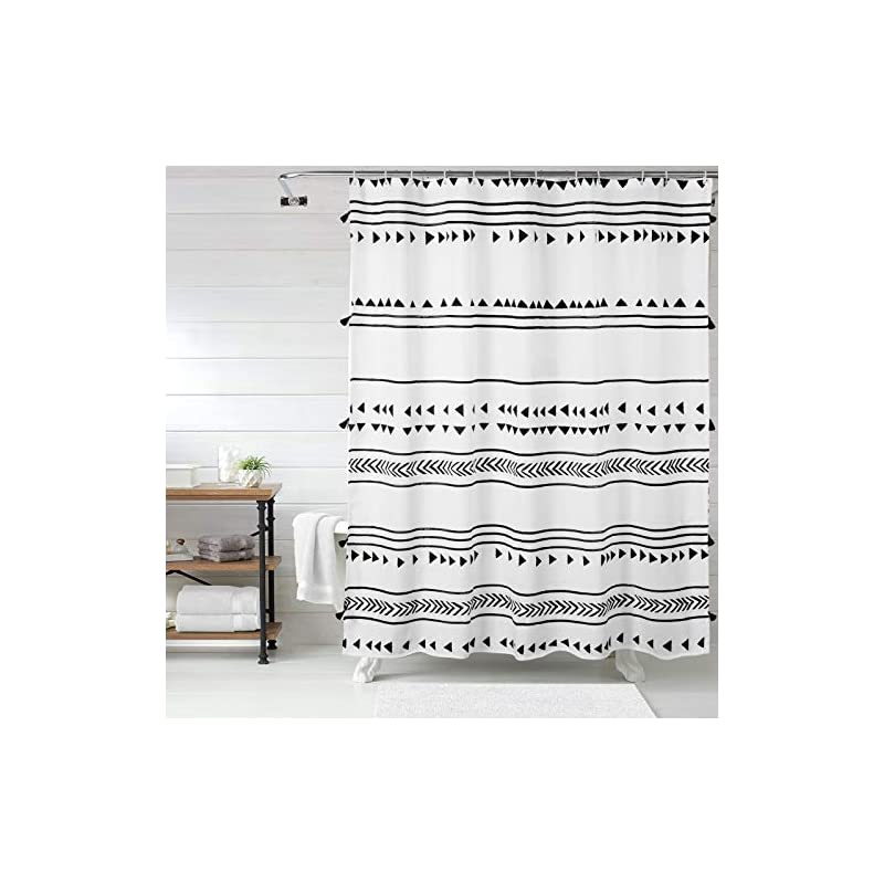 Uphome Extra Long Fabric Shower Curtain for Bathroom, Black and White Boho Shower Curtain Set Chic Triangle Geometric…