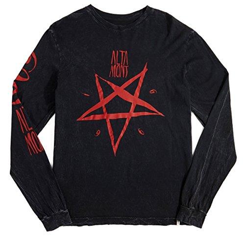 Tee Altamont (ALTAMONT Pentagram Wash Long Sleeve T-Shirt - Black/Red - LG)
