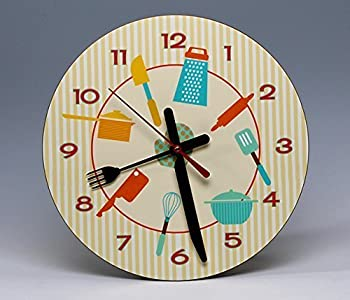 "8"" Round Kitchen Wall Clock ~ a whimsical ready-to-hang decorative piece of wall art for any room in the house."