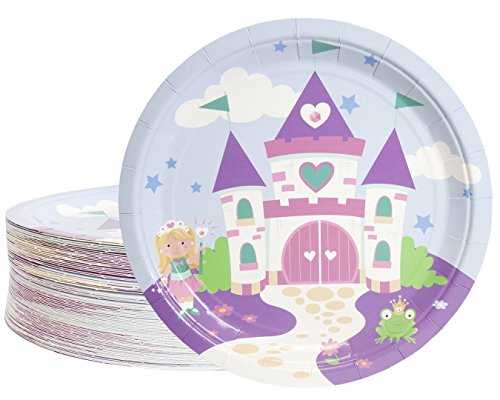 Disposable Plates - 80-Count Paper Plates, Princess Party Supplies for Appetizer, Lunch, Dinner, and Dessert, Kids Birthdays, Castle Design, 9 Inches in -
