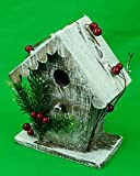 Cheap JMB Christmas Country Primitive Snow Covered Birdhouse with Scalloped Roof and Holly & Pinecone Decoration